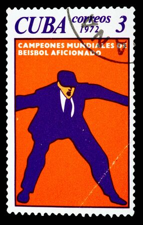 CUBA - CIRCA 1972: A Stamp printed in Cuba shows baseball, circa 1972