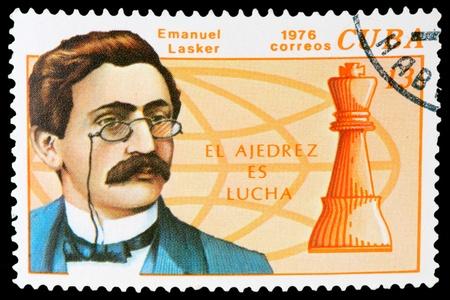 CUBA - CIRCA 1976: a post stamp printed by Cuba. Shows world chess champion Emanuel Lasker. Circa 1976