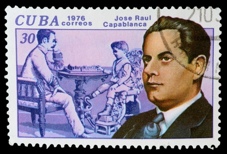 CUBA - CIRCA 1976: a post stamp printed by Cuba. Shows world chess champion Jose Raul Capablanca. Circa 1976