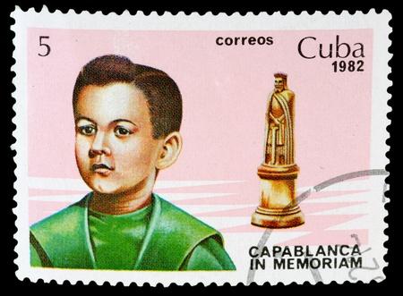 CUBA - CIRCA 1982: a post stamp printed by Cuba. Shows world chess champion Jose Raul Capablanca. Circa 1982