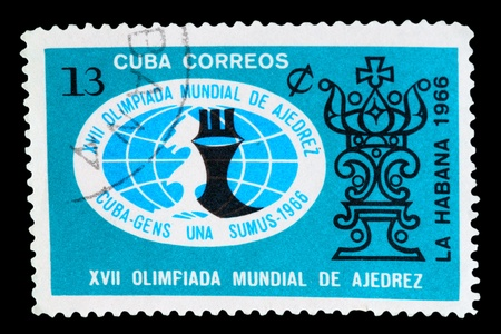 olympiad: CUBA - CIRCA 1966: A Stamp printed in Cuba shows a Olympiad logo with the inscription &quot,XVII World Chess Olympiad from the series FIDE, HABANA 1966, circa 1966