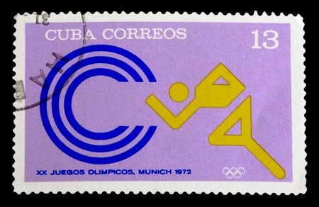 shooters: CUBA - CIRCA 1972: A stamp printed in Cuba shows images running man, one stamp from a series devoted to the Olympic Games in Munchen, circa 1972.