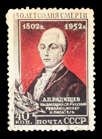 USSR - CIRCA 1952: A stamp printed in the USSR, shows A. Radishzev, circa 1952