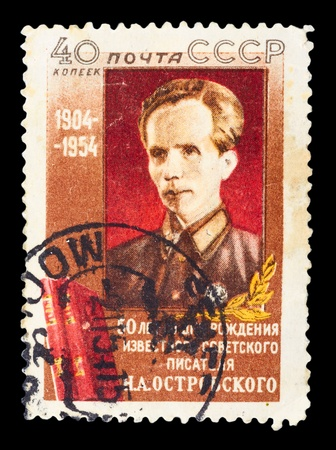 USSR - CIRCA 1954: A stamp printed in the USSR, shows N. Ostrovsky, circa 1954