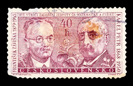 Czechoslovakia - CIRCA 1950: A stamp printed in the Czechoslovakia, shows F. Zaviska and K. Peter, circa 1950