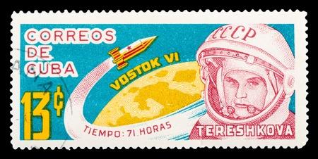 tereshkova: CUBA - CIRCA 1975: francobollo stampato a Cuba mostra cosmonauta sovietico V. Tereshkova, circa 1975