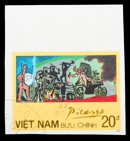 picasso: VIETNAM - CIRCA 1987: A stamp printed in Spain shows painting by Pablo Picasso War, circa 1987