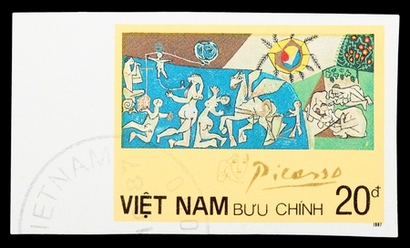 VIETNAM - CIRCA 1987: A stamp printed in Spain shows painting by Pablo Picasso, circa 1987 新聞圖片
