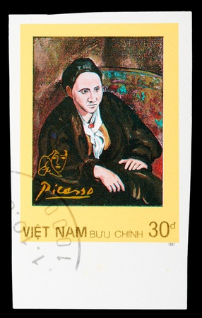 pablo: VIETNAM - CIRCA 1987: A stamp printed in Spain shows painting by Pablo Picasso, circa 1987 Editorial