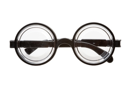 nearsighted: short-sighted glasses isolated on a white background