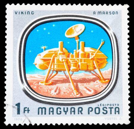 creador: HUNGRÍA - CIRCA 1978: Un sello impreso por vía aérea, en Hungría muestra una nave espacial, serie, alrededor de 1978.