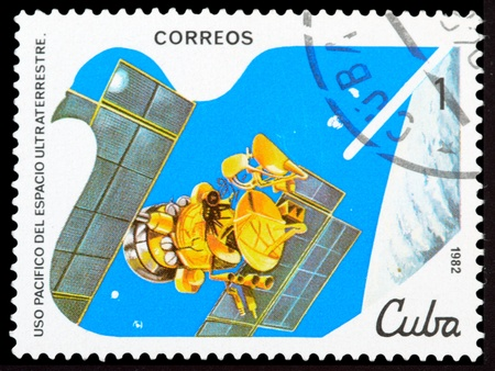 commemorative: CUBA - CIRCA 1982: An airmail stamp printed in Cuba shows a space ship, series, circa 1982. Stock Photo