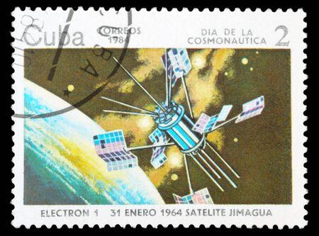 commemorate: CUBA - CIRCA 1984: An airmail stamp printed in Cuba shows a space ship, series, circa 1984.
