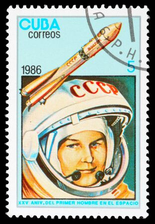 CUBA - CIRCA 1986: An airmail stamp printed in Cuba shows a space ship, series, circa 1986. Stock Photo - 11805491