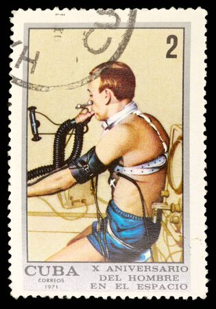 commemorative: CUBA - CIRCA 1971: An airmail stamp printed in Cuba shows atraining of a spaceman, series, circa 1971.