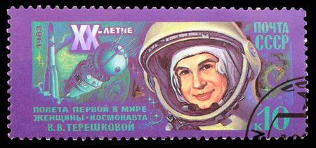 USSR - CIRCA 1983: An airmail stamp printed in USSR shows a spaceman: V.Tereshkova, series, circa 1983. Stock Photo - 11802997