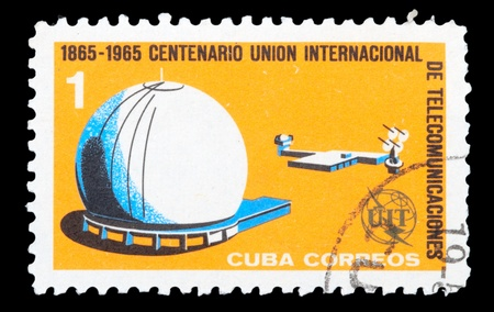 CUBA - CIRCA 1965: An airmail stamp printed in Cuba shows a space ship, series, circa 1965. Stock Photo - 11796102