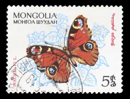 MONGOLIA - CIRCA 1970: A stamp printed in Mongolia shows butterfly, circa 1970 Stock Photo - 11798907