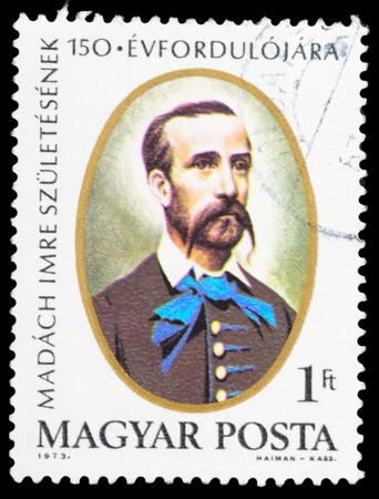 magyar posta: HUNGARY - CIRCA 1973: a stamp from Hungary shows image of Hungarian writer, poet, lawyer and politician Imre Madach, circa 1973
