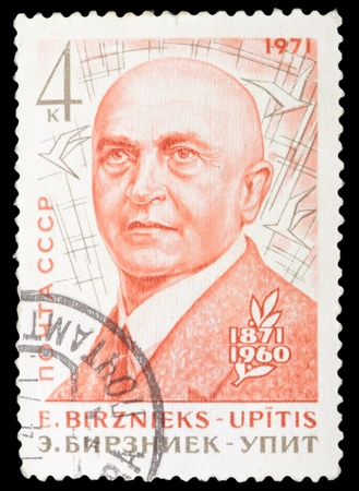 RUSSIA - CIRCA 1971: stamp printed by Russia, shows Birznieks Upitis, Latvian Writer, circa 1971