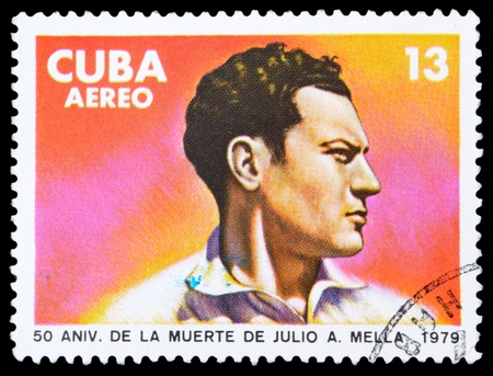 CUBA - CIRCA 1979: stamp printed by Cuba, shows portrait of the man. Julio A. Mella, circa 1979.