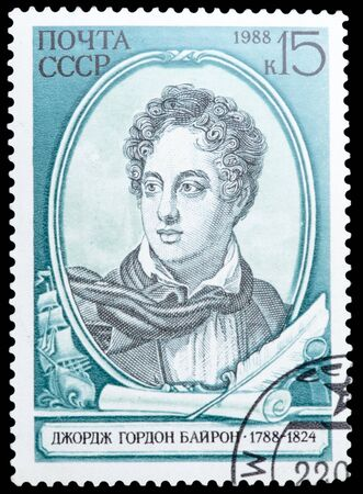 fop: USSR - CIRCA 1988: A stamp printed in USSR shows a drawing of Lord Byron, circa 1988. Stock Photo