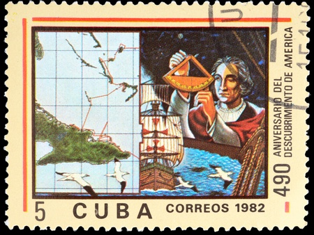 cristobal colon: CUBA - CIRCA 1982: A stamp printed in Cuba shown Cristobal Colon in commemoration of the discovery of america