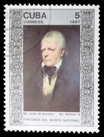 walter scott: CUBA - CIRCA 1987: A Stamp printed in CUBA shows the painting Sir Walter Scott, by Sir John W. Gordon, from the series Paintings in the Natl.Museum, circa 1987