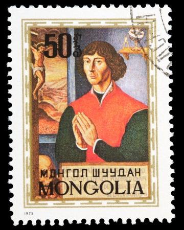astronomer: MONGOLIA - CIRCA 1973 : stamp printed in Mongolia showing Nicolaus Copernicus - great astronomer, circa 1973