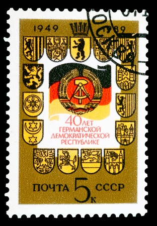 USSR - CIRCA 1989: stamp printed by USSR, shows Germany arms, circa 1989 photo