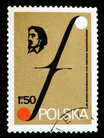 POLAND - CIRCA 1977: A stamp printed in Poland shows portrait Henryk Wieniavski and Musical Symbol. Wieniavski Music Festivals. Poznan, circa 1977