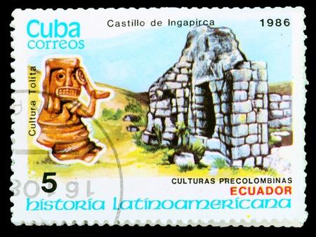 CUBA - CIRCA 1986: postage stamp shows example Tolita culture, circa 1986 photo