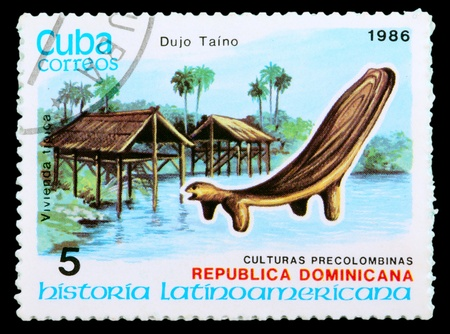 CUBA - CIRCA 1986: postage stamp shows example Dujo Taino culture, circa 1986