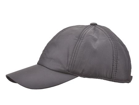 gorro: Gorra de b�isbol negro aislado en blanco