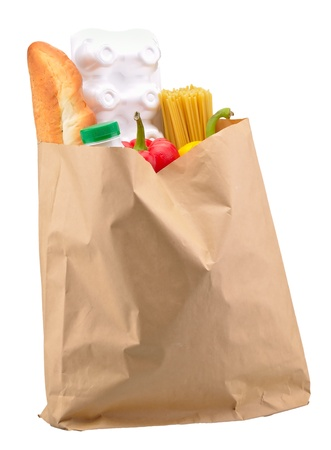 paper bag with food isolated on a white background photo