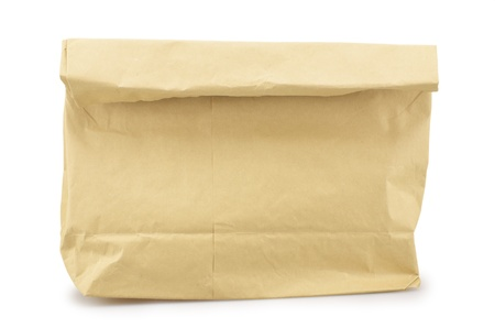 Close up of a paper bag isolated on white background photo