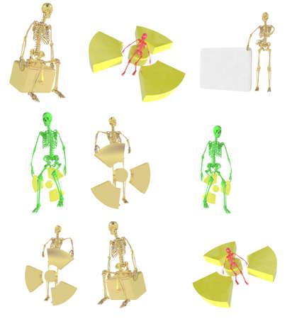 Collage del esqueleto de 3D con el signo de las im�genes de radiaci�n Foto de archivo - 12153237