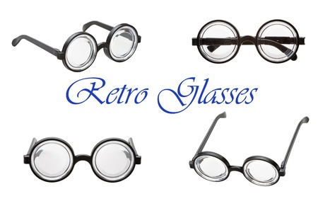 set of retro glasses isolated on a white background photo