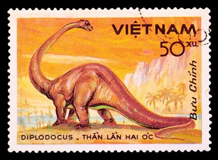 CUBA - Vietnam 1985: A stamp printed in Vietnam shows dinosaur, circa 1985