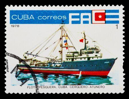 philatelic: CUBA - CIRCA 1978: A stamp printed in Cuba shows a Cuban tuna fishing trawler, circa 1978.