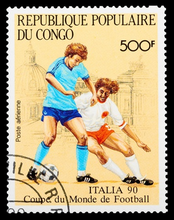 CONGO - CIRCA 1990 : A stamp printed in Congo shows football, circa 1990