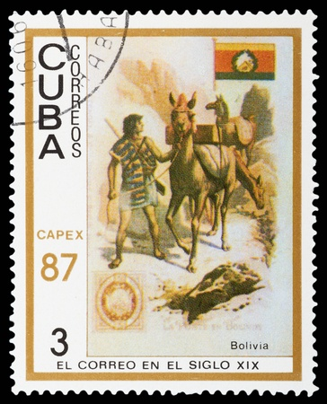 CUBA - CIRCA 1987: A Stamp printed in CUBA shows the Messenger, llamas and Bolivia Type A9, from the series Natl. flags, stamps and 19th cent. mail carriers pictured on cigarette cards, circa 1987