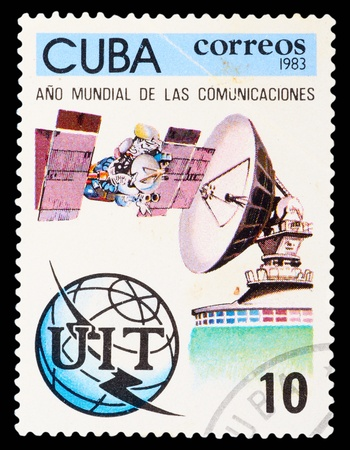 CUBA - CIRCA 1983: The stamp printed in Cuba shows facilities of communication, circa 1983. Large spatial series photo