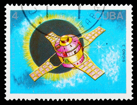 marte: CUBA - CIRCA 1988: The postal stamp printed in CUBA is shown by the sputnik, CIRCA 1988.