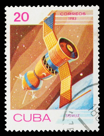 CUBA - CIRCA 1983: A stamp printed in the Cuba shows the rocket, circa 1983. Big space series photo