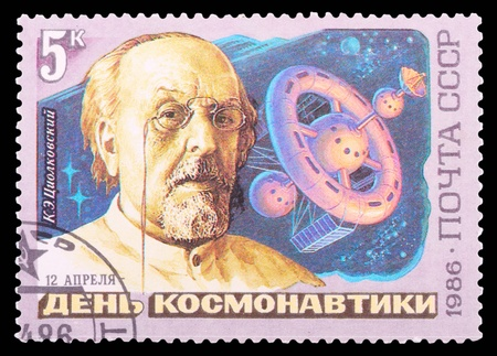 USSR - CIRCA 1986: A stamp printed in the USSR shows Soviet scientist, the father of astronautics Konstantin Tsiolkovsky, circa 1986.