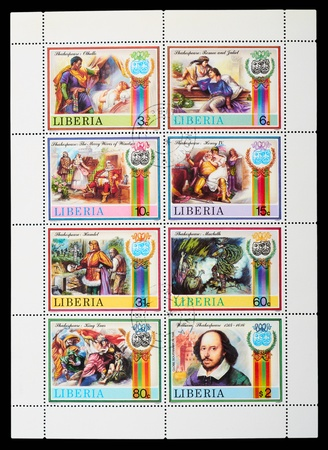 Liberia - CIRCA 1978: stamp printed by Liberia, shows Shakespeares poems, circa 1978