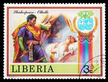 poems: Liberia - CIRCA 1978: stamp printed by Liberia, shows Shakespeares poems, circa 1978 Editorial