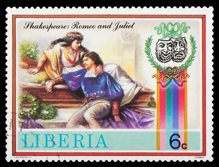 Liberia - CIRCA 1978: stamp printed by Liberia, shows Shakespeare's poems, circa 1978 Editorial