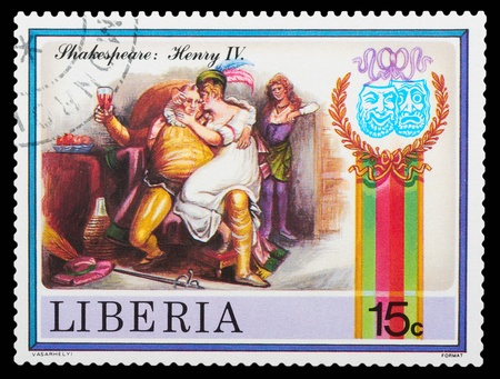 romeo and juliet: Liberia - CIRCA 1978: stamp printed by Liberia, shows Shakespeares poems, circa 1978 Editorial